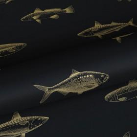 Czarna tapeta w złote ryby 139124