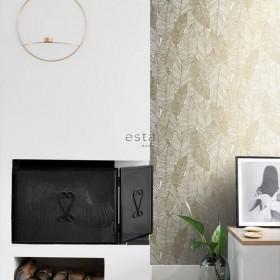 Nowoczesna tapeta na ścianę złote liście
