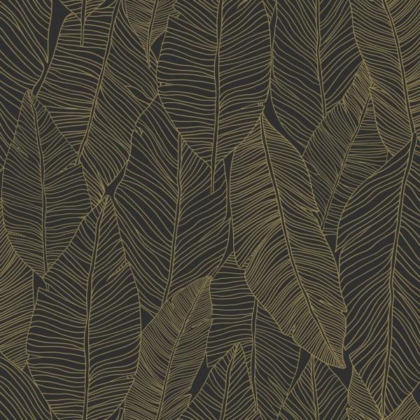 Czarna tapeta nowoczesna w tropikalne w liście