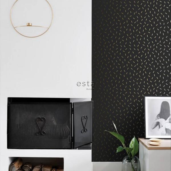 Czarna tapeta w złotą geometrię