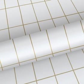 Biała tapeta w złotą kratkę 139131