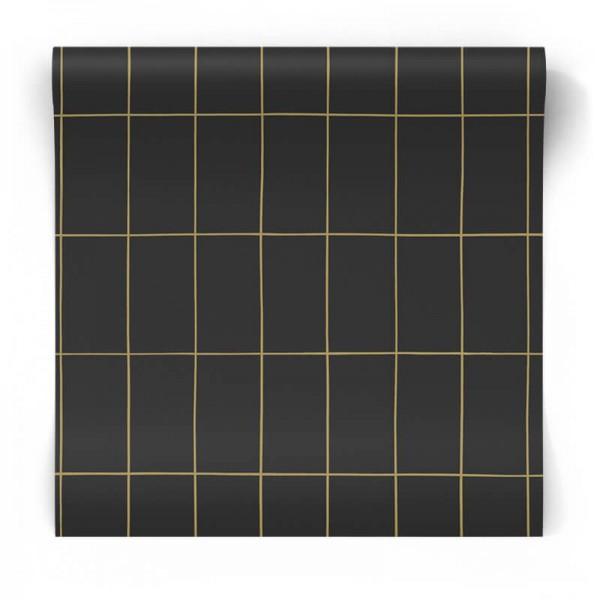 Czarna w złotą kratę Skandynawska 139132