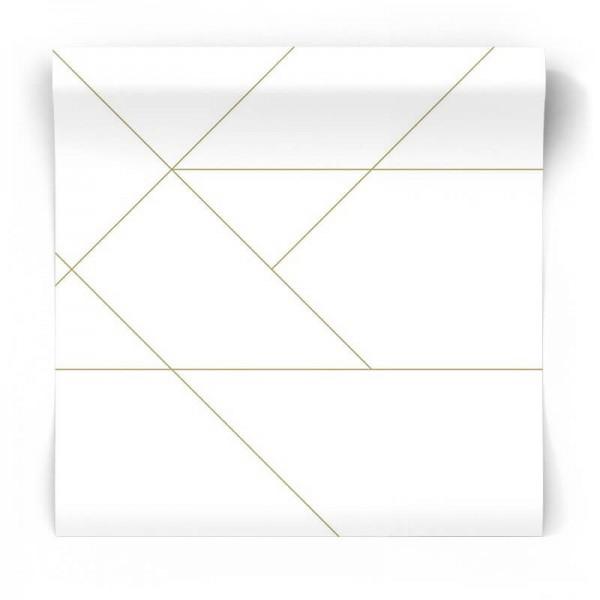 Geometryczna tapeta w złote linie