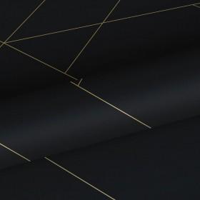 Czarna tapeta w złote linie 139144