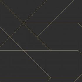 Czarna tapeta ze złotem geometryczna