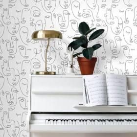 Czarno biała tapeta modern art.