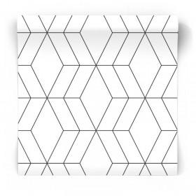 nowoczesna geometria tapeta czarno biała