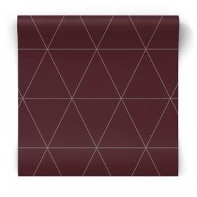 Bordowa tapeta geometryczna 347718