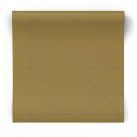 Musztardowa tapeta geometryczna 347723