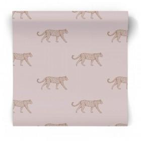 Różowa tapeta w gepardy świecąca 347729