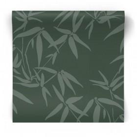 Ciemno zielona tapeta w liście 347738