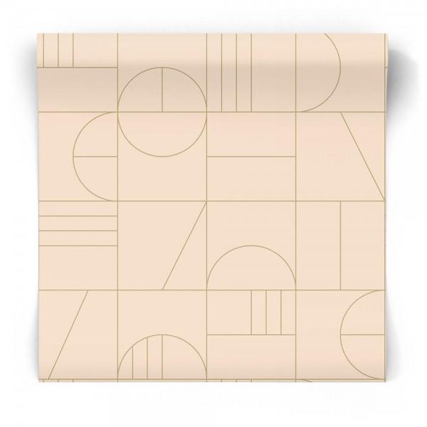 Geometryczna tapeta pudrowy róż