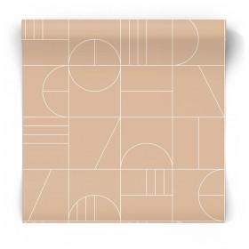 Beżowa tapeta geometryczna art deco