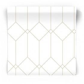 Biało złota tapeta geometryczna
