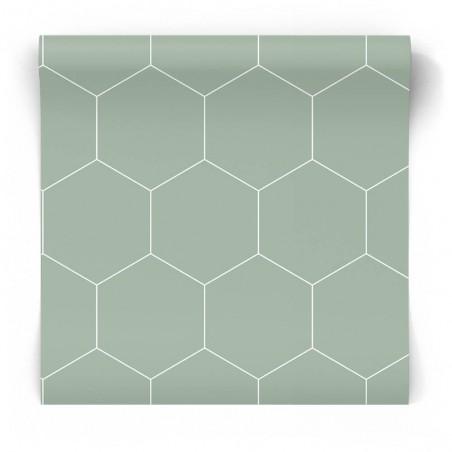 Seledynowa tapeta geometryczna
