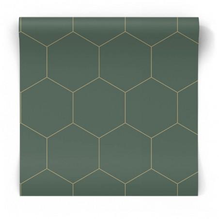 Szmaragdowa tapeta geometryczna