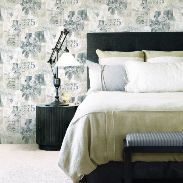 Tapety malowane kwiaty skandynawskie do sypialni
