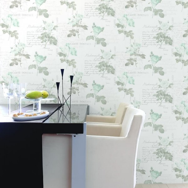 tapety mietowe kwiaty malowane skandynawski styl