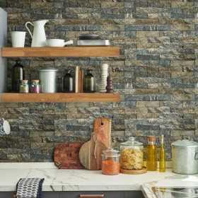 Tapety imitujące cegłę i łupek do kuchni