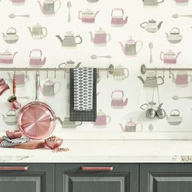 Zmywalna winylowa tapeta do kuchni nad szafkami aranżacja