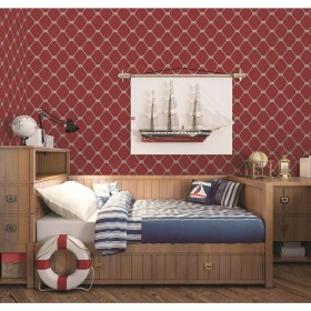 Bordowa tapeta do pokoju chłopca - młodzieżowy wzór