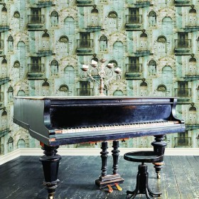 Industrialna tapeta do salonu imitująca kamienice