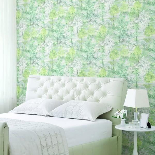 Tapeta flizelinowa w sypialni na jednej ścianie za łóżkiem