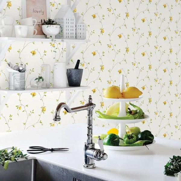 Zmywalna kuchenna tapeta w cytryny żółta
