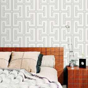 Nowoczesne tapety geometryczne do sypialni aranżacje w szaro biały wzór