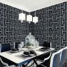 Czarno szara srebrna tapeta geometryczna 3D do jadalni aranżacje - zmywalna