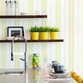 Tapety do kuchni zmywalne w żółto białe pasy aranżacje
