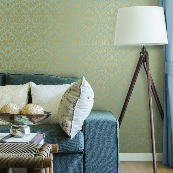 Miętowo złote błyszczące tapety w stylu Vintage i Glamour do salonu i sypialni