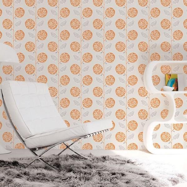 Tapety pomarańczowe do salonu aranżacje nowoczesne