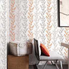 Tapety w szare gałązki do pokoju i salonu nowoczesne w stylu Vintage - aranżacje wnętrza