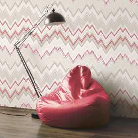 Retro tapety w zygzak czerwono szare do pokoju aranżacje