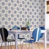 Nowoczesne tapety granatowo niebieskie do jadalni i pokoju w stylu Vintage Retro