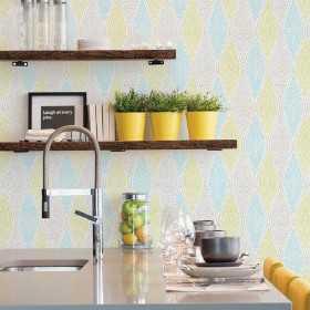 Nowoczesna tapeta do kuchni i jadalni w niebiesko zielone wzory
