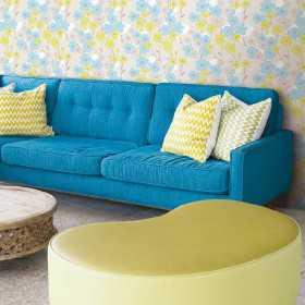 Tapety marimekko w niebiesko zielone kwiaty do pokoju
