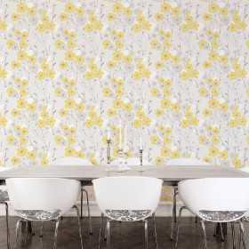 Tapety marimekko - żółto szare kwiaty do jadalni sypialni i kuchni