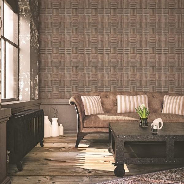 Nowoczesna tapeta flizelinowa do salonu w stylu loft aranżacja