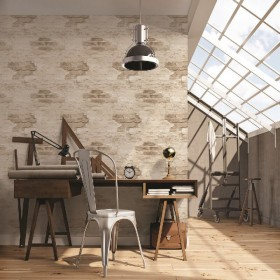 Nowoczesna tapeta imitująca cegłę do pokoju młodzieżowego chłopca lub biura