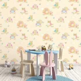 Aranżacja tapety w sowy do pokoju dziecięcego