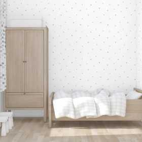 Tapeta w szare groszki na białym tle do pokoju dziecięcego