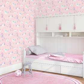 Tapeta w księżniczki i jednorożce do pokoju dziecięcego dla dziewczynki różowa