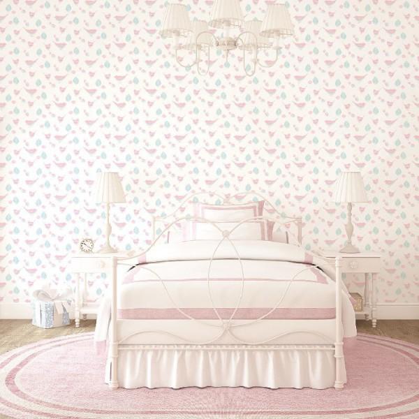Różowa tapeta dziecięca dla dziewczynki