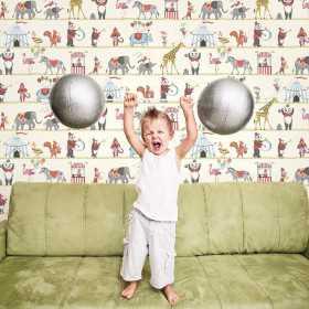 Tapeta w cyrk do pokoju dziecka aranżacje