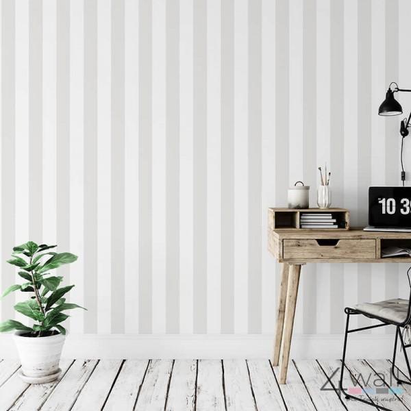 Tapeta ścienna do pokoju w szaro białe pasy flizelinowa