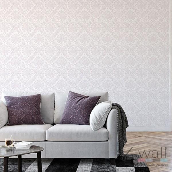 Tapeta do salonu w jasno różowy ornament w stylu Glamour