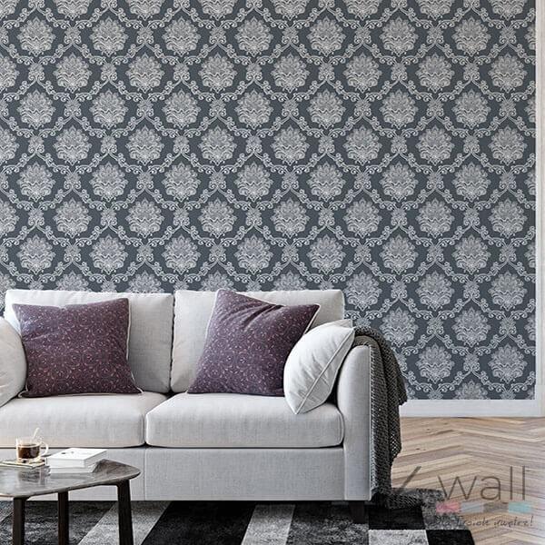Aranżacja tapety w grafitowy ornament Glamour