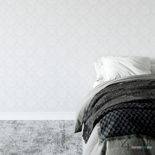 Tapeta w stylu Vintage w jasno szary ornament Glamour
